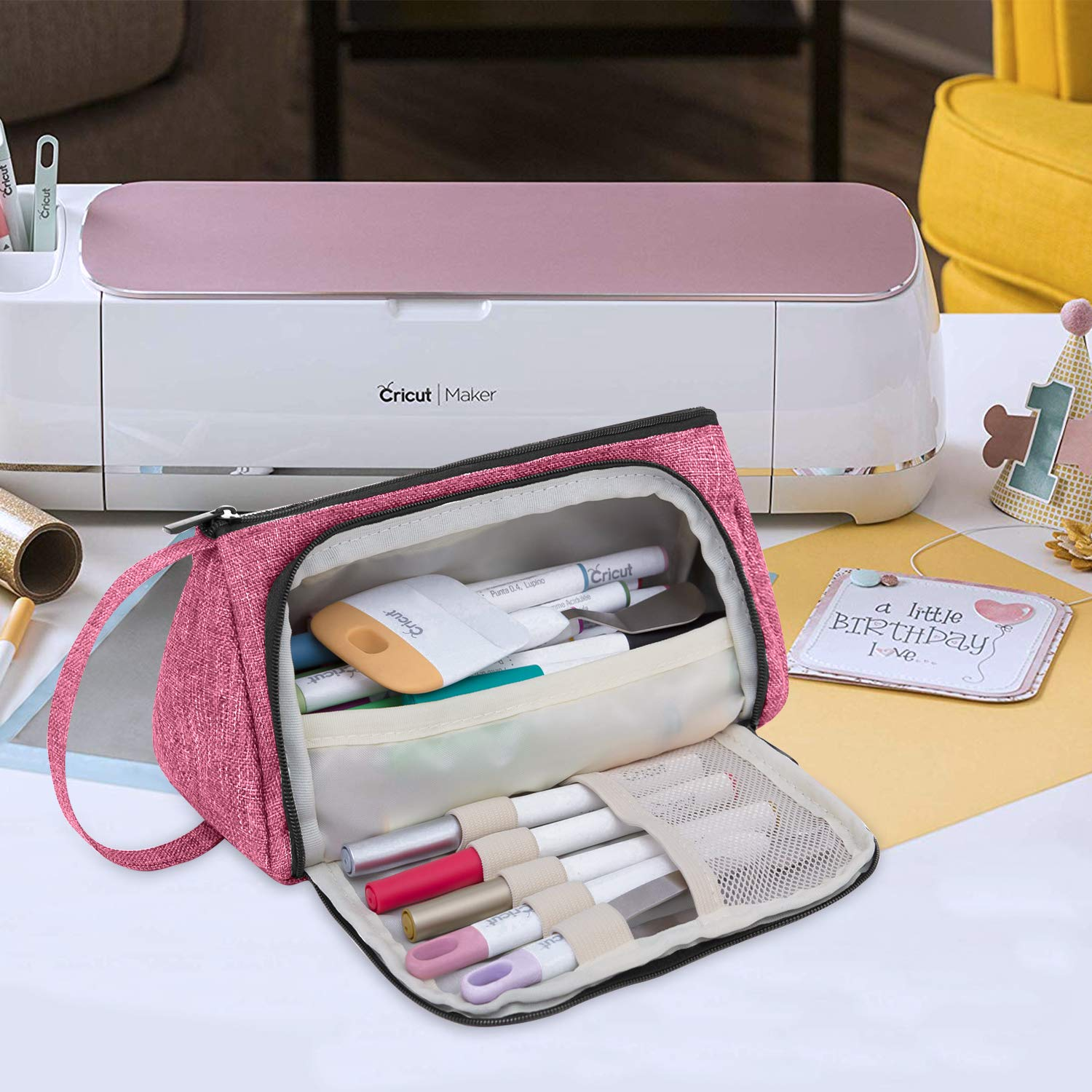Carrying Case for Cricut Accessories Luxja Bag for Cricut Pen Set and Basic Tools Red Bag Only