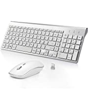 BJL Tastiera e Mouse Wireless,Full-size Tranquilla Slim Tastiera Numerico e Mouse Ergonomico da 2400 DPI per PC,Desktop,Computer,Notebook,Laptop,Windows XP /Vista/7/8/10(QWERTY Italia)-Argento bianco