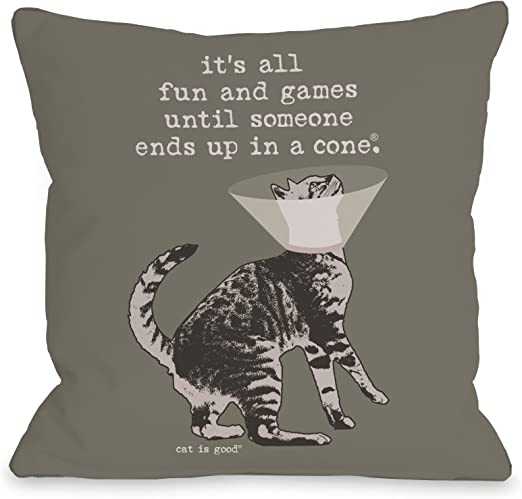 One Bella Casa Change the Way Throw Pillow by Dog is Good 18x 18 Blue