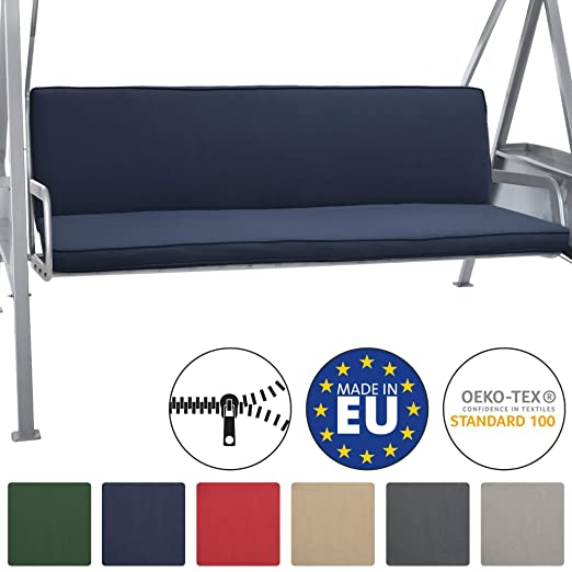 Beautissu Loft HS Set 2 Cojines colchoneta para Bancos Columpio Hollywood 180x50 Azula Oscuro Asiento y Respaldo 3 plazas