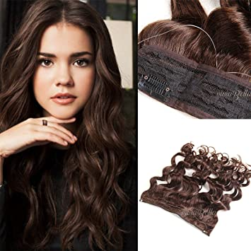 human hair halo extensions brown