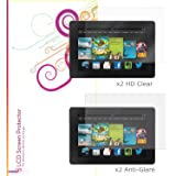 Amazon Kindle Fire HD 7 Screen Protector, rooCASE Kindle Fire HD 7 2013 4 Pack Screen Protector - x2 HD High Defintion x2 AG Anti Glare Screen Shield