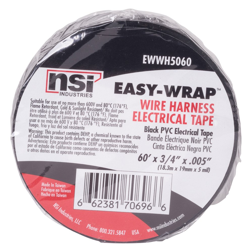 Wire Harness Easy Wrap Pvc Tape 075 Width 60 Length 0005 Mercedes Sl Wiring Thick Black Electrical Industrial Scientific