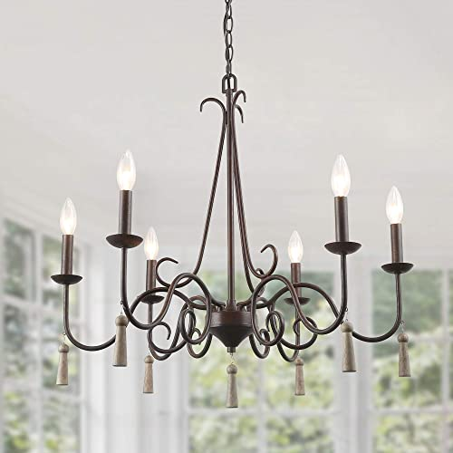 LALUZ 6 Lights Farmhouse Chandeliers for Dining Living Rooms, Bedrooms and Foyer with Wood Droplets, Rust Finish