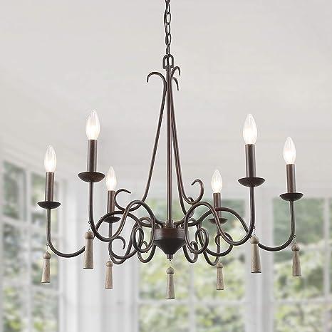 Amazon.com: LALUZ - Lámpara de araña rústica francesa, 6 ...