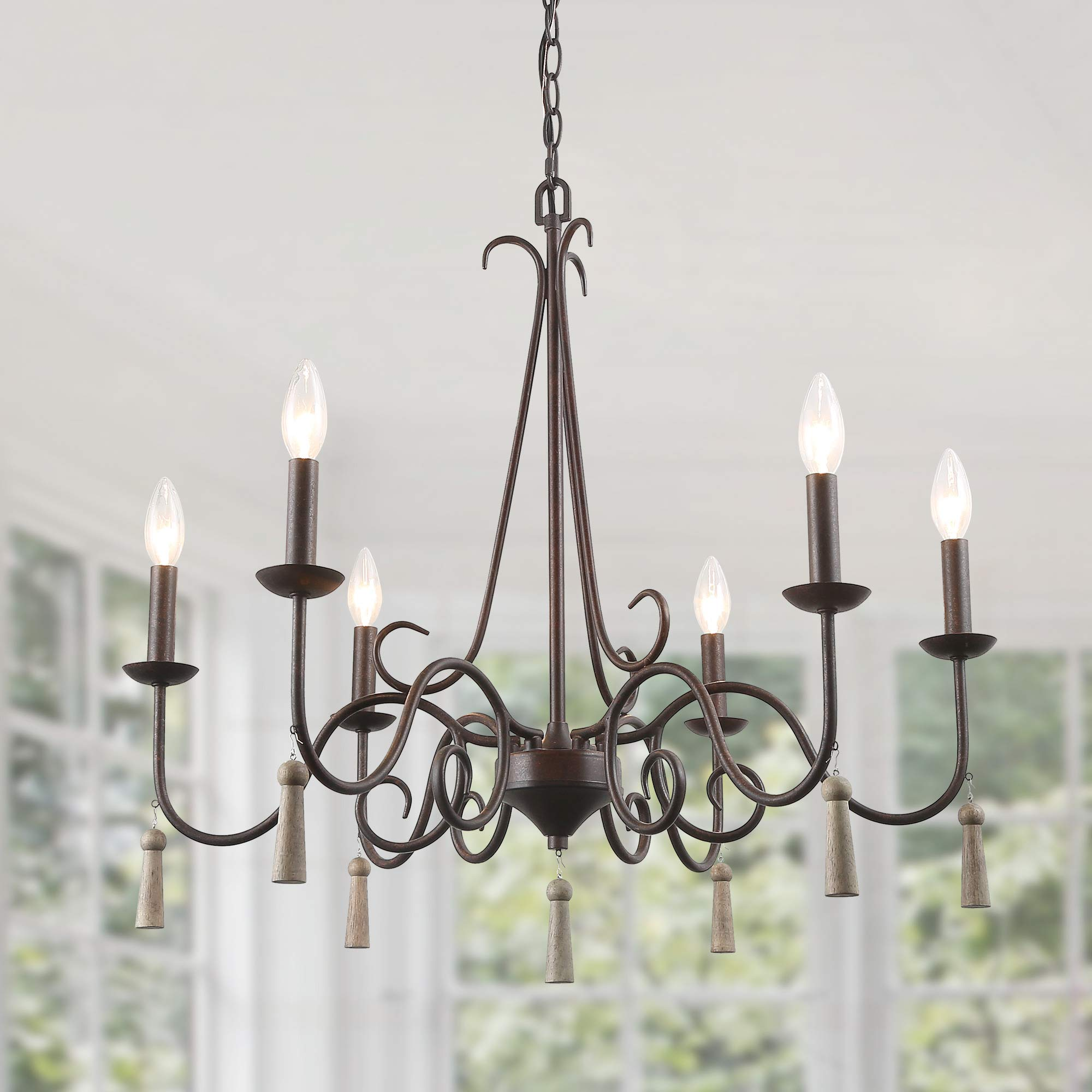 "LALUZ Rustic French Country Chandelier, 6 Lights 26.4"" Farmhouse Chandelier with Wood Droplets"