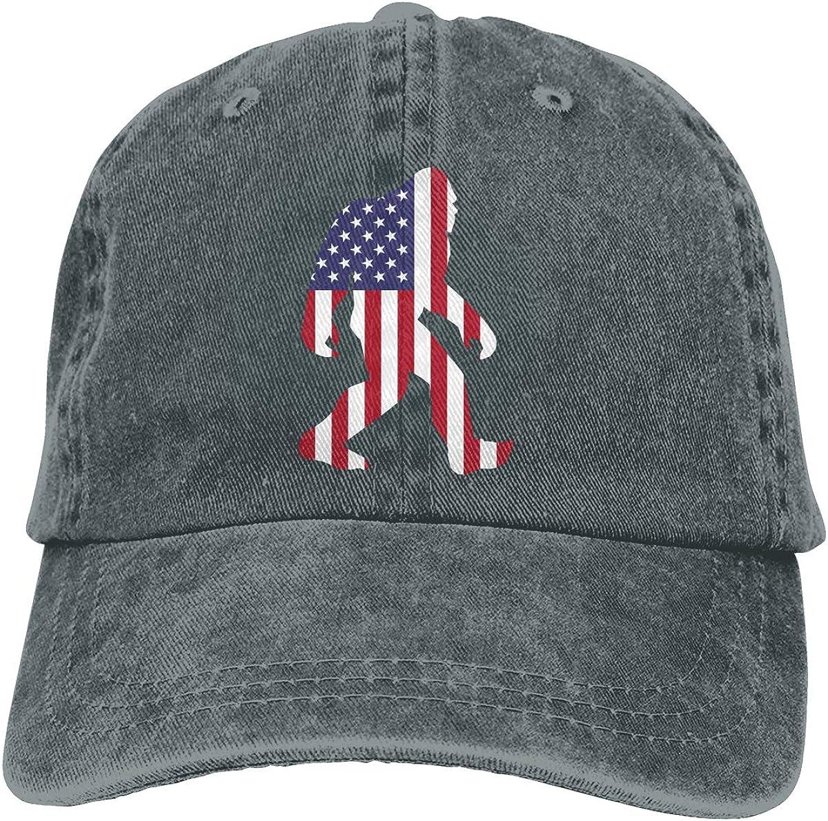 Q64 Bigfoot American Flag Unisex Adult Cowboy Hat Outdoor Sports Hat Adjustable Baseball Cap