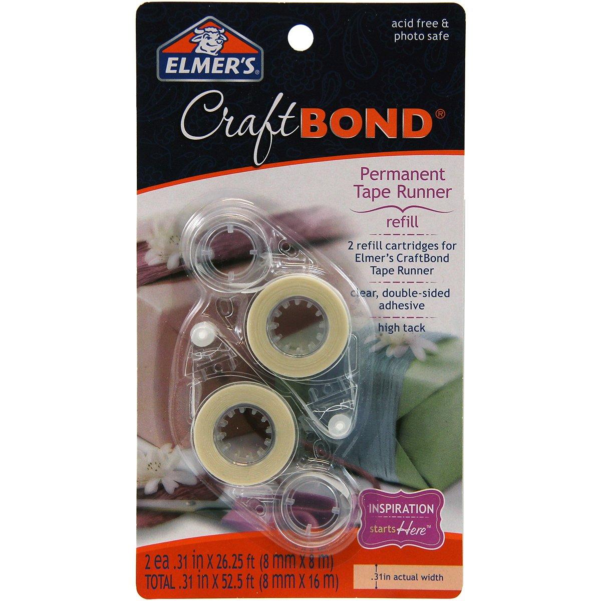 "Elmer's, Clear, Craftbond Permanent Tape Runner, 31"" by 26-1/4 Feet, 2 Refills Per Pack (E4007), 2-Pack"