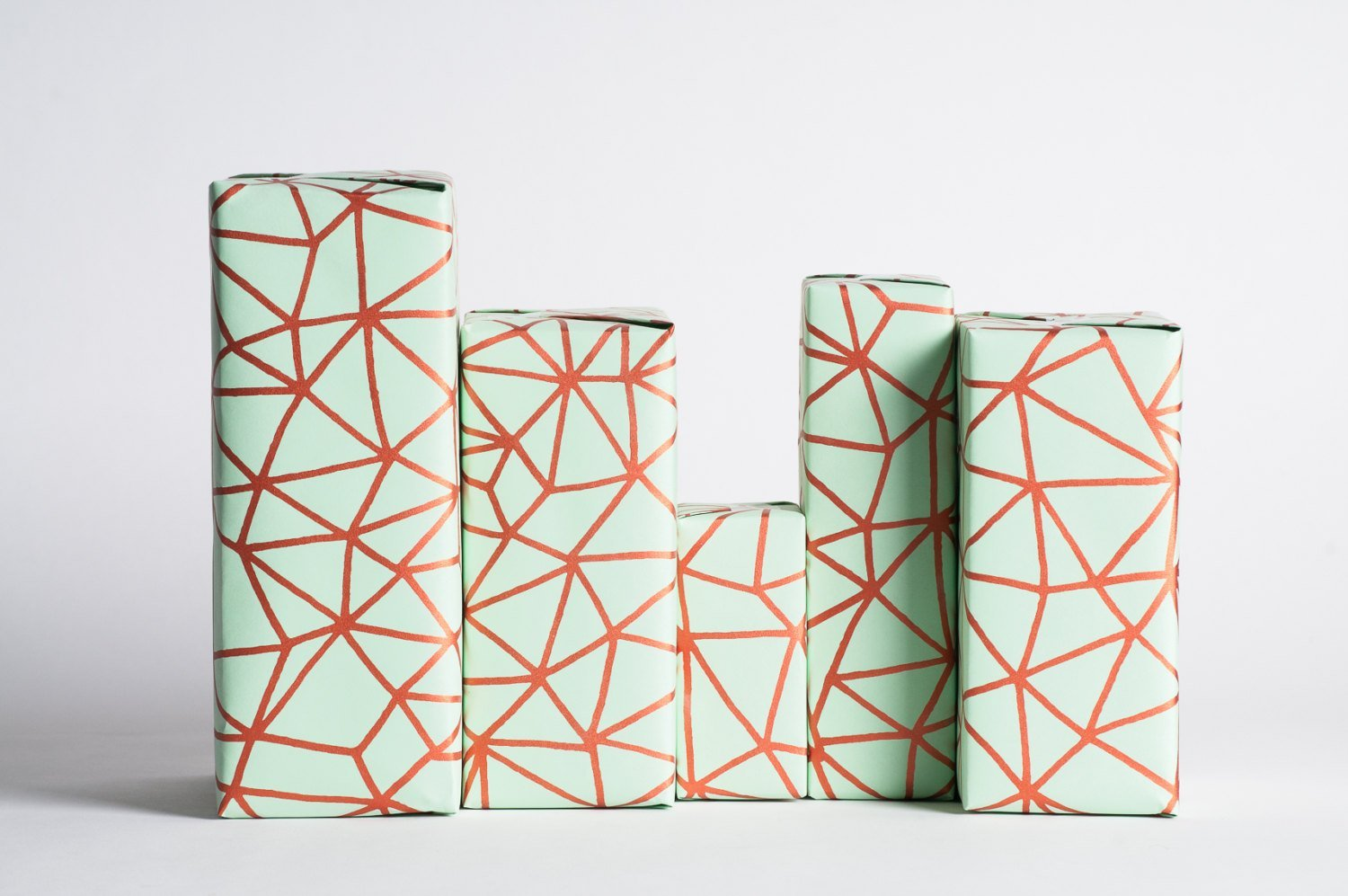 Organic Geometry / Mint-Copper / Wrapping Paper 3 Sheets