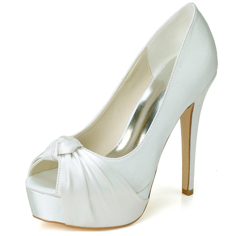 Elobaby Zapatos De Boda De Las Mujeres Tacones De Gatito Noche Peep Toe Tacones Altos/35-41 TamañO/12.5Heel/Vestido 38 EU Ivory