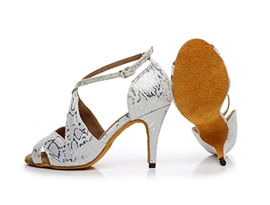 JSHOE Damen Latin Dance Schuhe Salsa/Tango/Tee/Samba/Modern/Jazz Schuhe  Sandalen High Heels,Grey-heeled8.5cm-UK2.5/EU32/Our33: Amazon.de: Schuhe &  ...