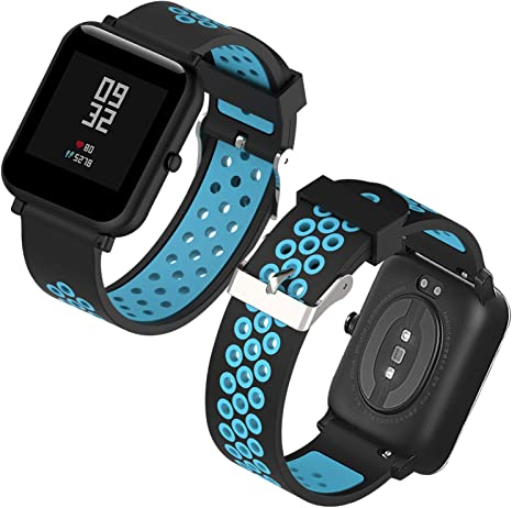 Imagen deTh-some Correa para Amazfit Bip Impermeable Universal - Reemplazo de Pulsera Ajustable para Xiaomi Huami Amazfit Bip bit Lite Youth Watch Sin Tracker (Negro Azul3)