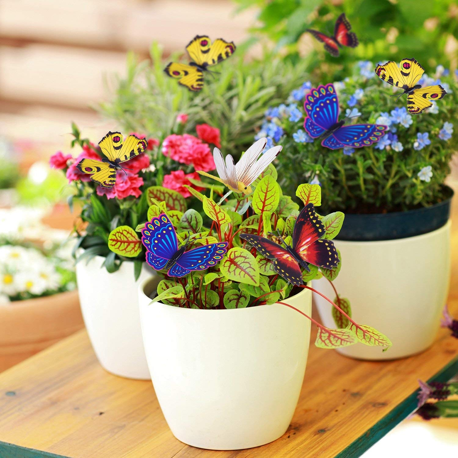 Home Decoration Flower Bed Patio Plant Pot 50PCS 27CM Garden Butterfly Ornaments MIKIROY Garden Butterfly Stakes Waterproof Butterfly Decorations for Indoor//Outdoor Yard