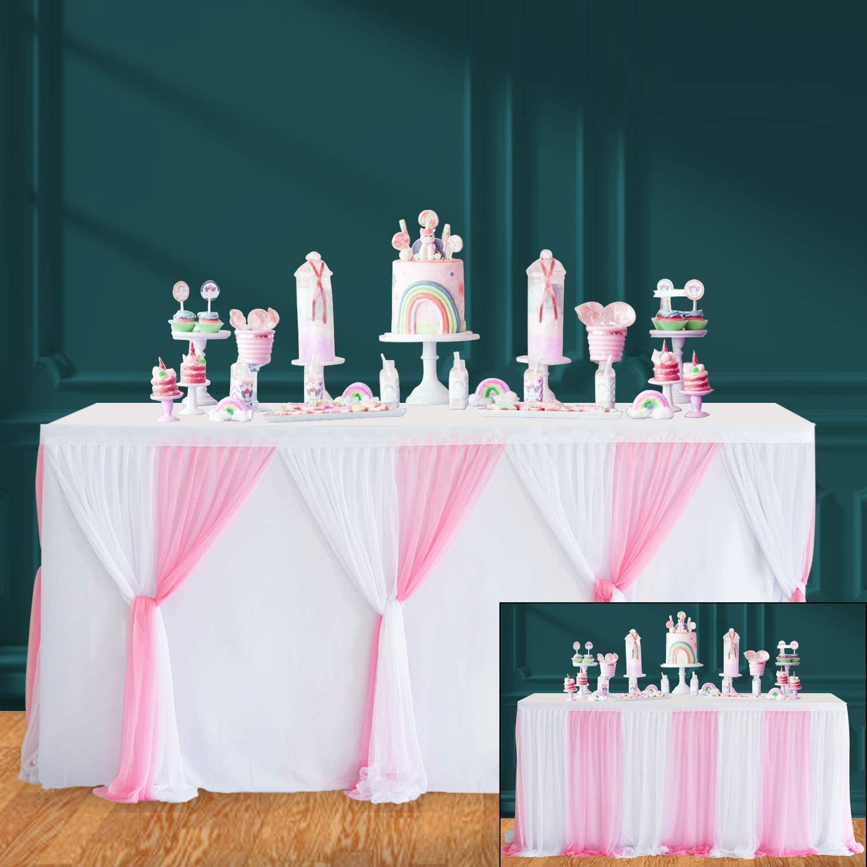 HBBMAGIC Rosa Falda de Mesa de Tul Faldas de Mesa Hechas a Mano para Fiesta, Baby Shower, Boda, cumpleaños, Barra de Caramelo, decoración del hogar