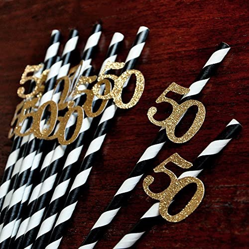 Black And Gold Straws For 50th Party 10CT Birthday Ideas