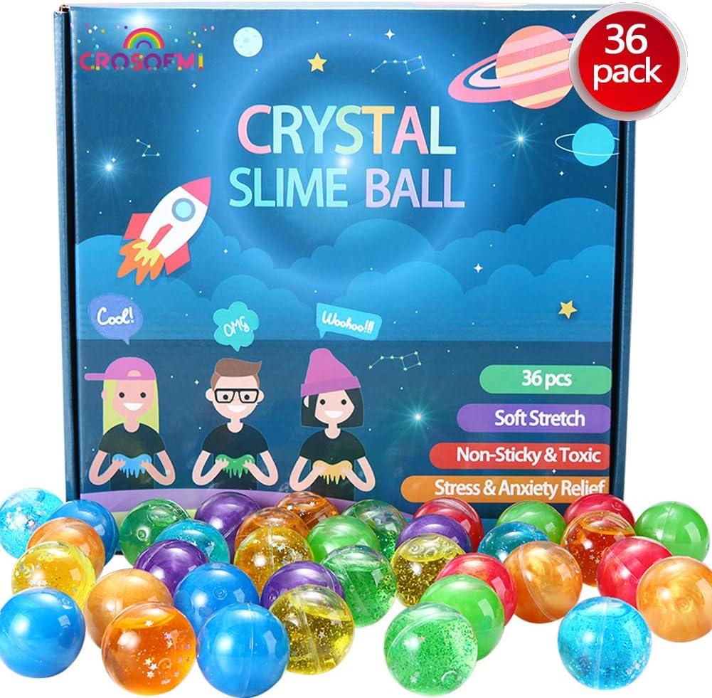 CROSOFMI Slime Kit Fluffy 36 Piezas Galaxia Limo Bolas Colorido Suave Elástica Regalo de Juguete de Descompresión Niños 3+ Años