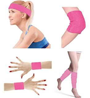 99c7392354f4 80 s Retro Running Jogging Sports Headband Wristbands Leg Warmers Elbow  Guard Set For Women Girls