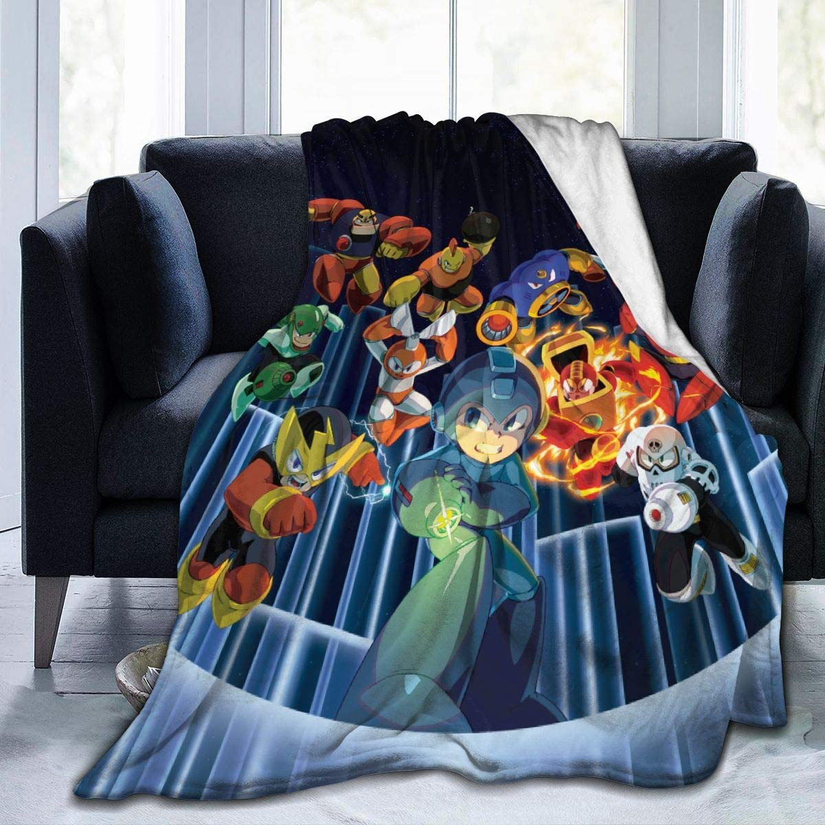 "WWSSTTOO Mega-Man-Legacy Flannel Fleece Plush Throw Blanket Ligtweight Cozy Bed Couch Thin Blanket 3D Print for Boys Girls 50"""" x40"