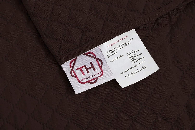 textil-home Funda Cubre Sofá Chaise Longue Adele, Protector para Sofás Acolchado Brazo Izquierdo. Tamaño -240cm. Color Marrón (Visto DE Frente): Amazon.es: ...