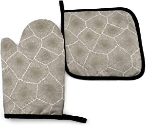 Surwoaly Oven Mitt & Pot Holders Set,Petoskey Stone Kitchen Heat Resistant and Washable for Cooking Baking Grilling and BBQ Decorative Baking Kitchen Gift
