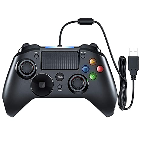 Mpow Wired Gaming Controller, PS4 Game Controller, USB Gamepad with Turbo  and Trigger Buttons, Headset Jack, LED Light for PS4, PS4 Pro/Slim, PS3,