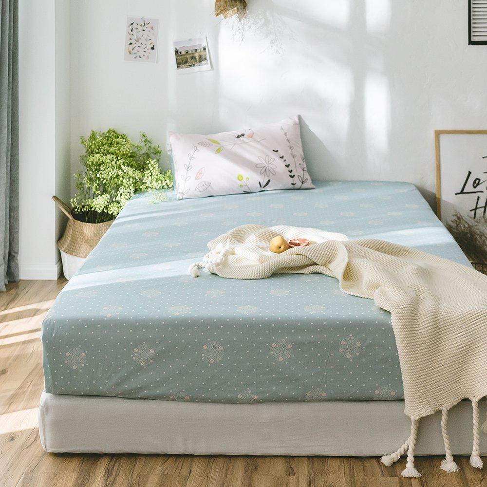 100% Cotton Twin Size Fitted Sheet Modern Fresh Summer Bedding Sheet for Kids Teens Adults Lightweight Boys Girls Bed Fitted Sheet Cotton Deep Pocket Twin Bedding Sheet