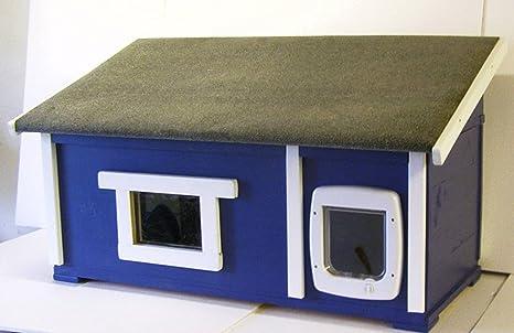 Gato Casa Exterior con ventana y gato Tapa suelo aislado ...