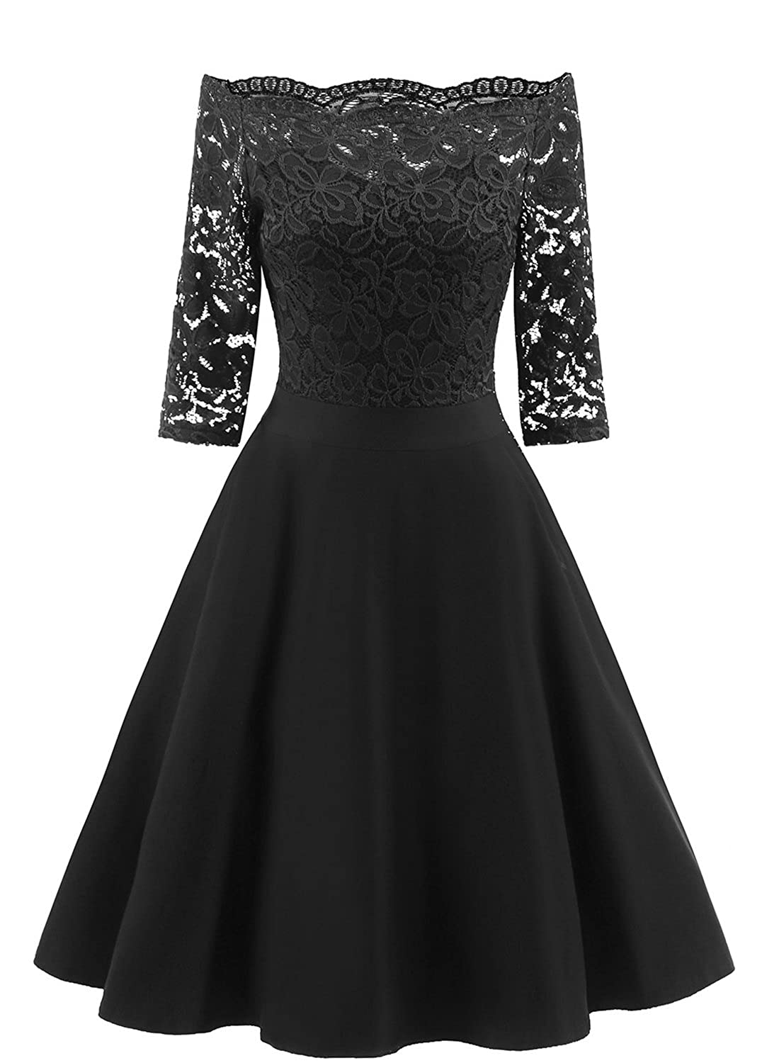 b90c4a44219 Made in USA and Imported Women Vintage Floral Lace 1 2 Sleeve Boat Neck  Elegant Cocktail Swing Dresses DESIGN  Vintage floral lace cocktail party  swing ...