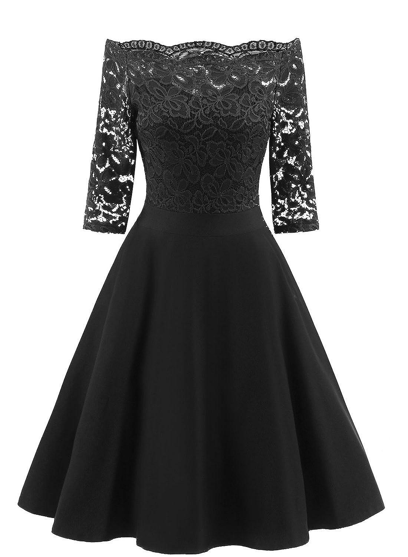 8032b0af8f DESIGN  Vintage floral lace cocktail party swing dress features with off  shoulder design