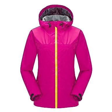 DE Outdoor Regenmantel Damen Regenjacke mit Kapuze Wasserdicht Windbreaker Sport