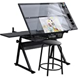 Waful Height Adjustable Drafting Draft Drawing Art Table Art Craft Artists Desk Tilting Glass Tabletop Paintings Work Station