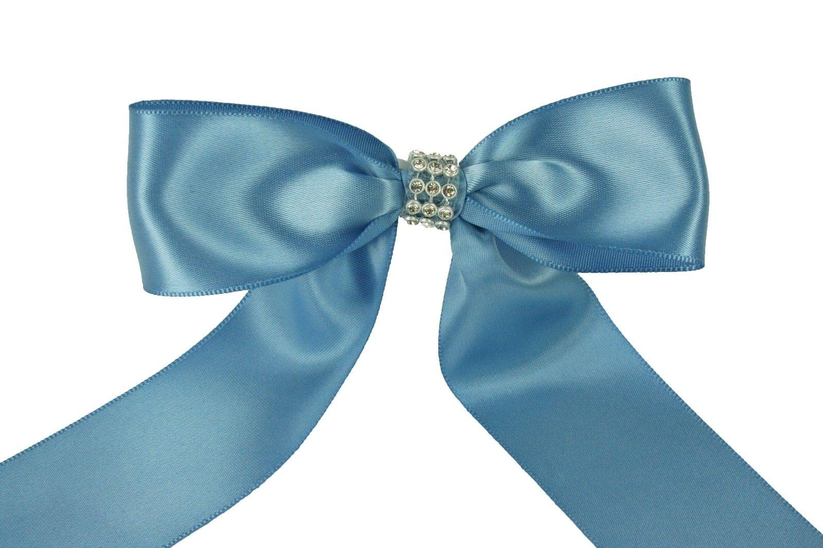 Bright Sun Antique Blue (Set of 10) Pre-Made 1-1/2'' Satin Bows Rhinestone Center Design with Wire Tie #DPNH