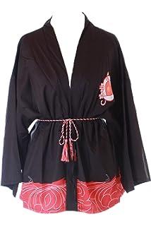 KJ-07 Schwarz Goldfisch Sakura Kirschbl/üten Haori /Über-Jacke Geisha Kimono Yukata Harajuku Japan Kawaii