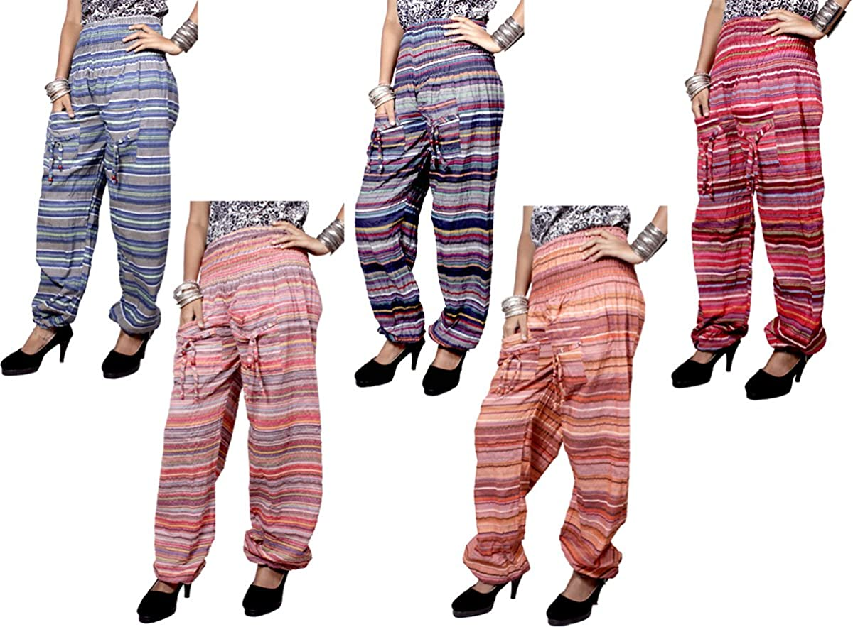 5Pcs-25pcs Casual Aladdin Cotton Striped Design Elastic Boho Hippie Trouser Indian Pants Wholesale Lot