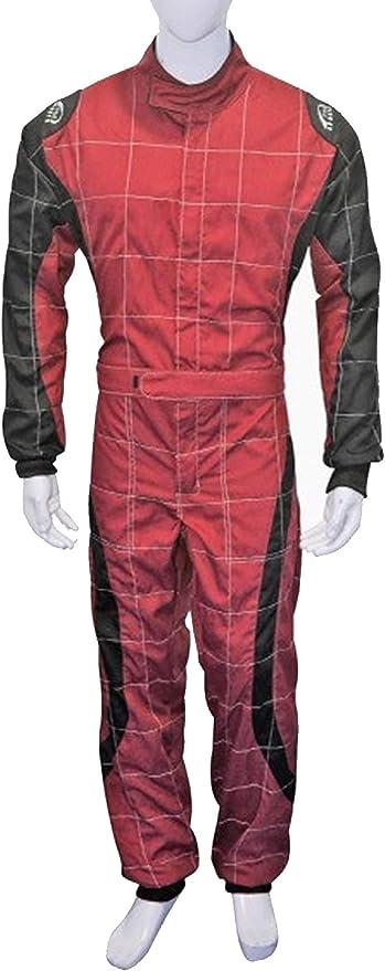 /Taille L Adulte Go Kart Karting Cons/équence Race Rally mieux en polycoton One Piece Karting Combinaison globale Rouge et Noir/