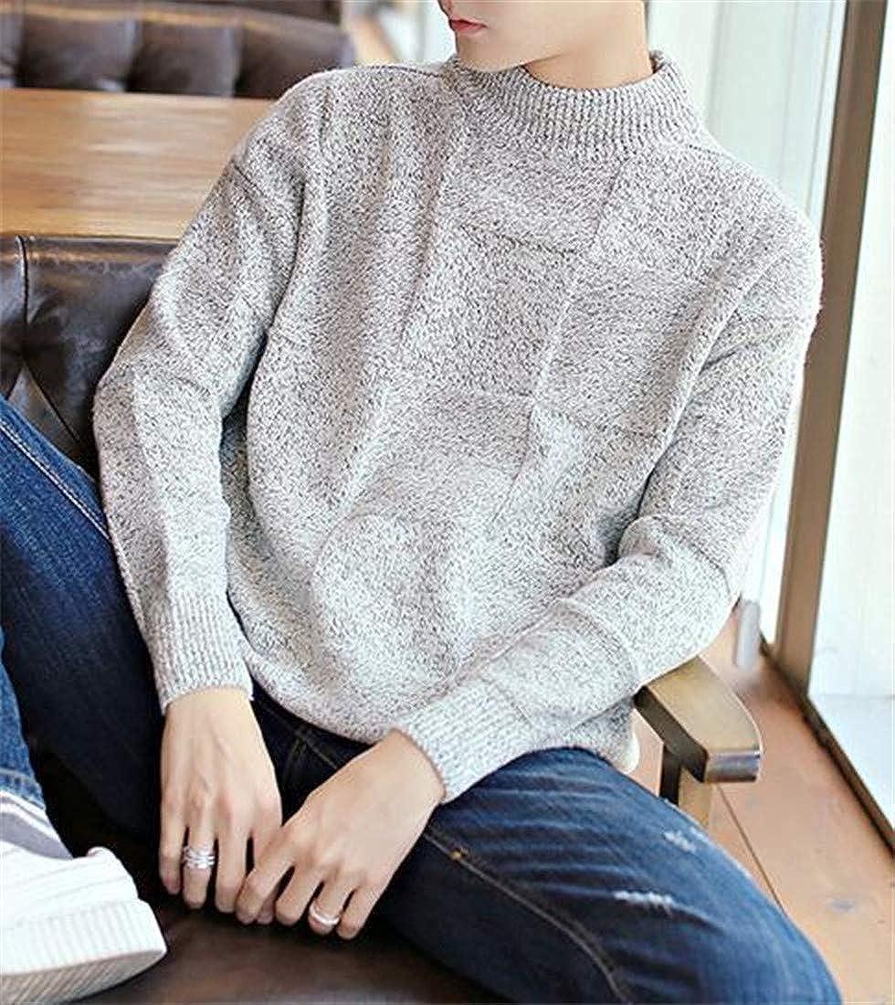 Wofupowga Mens Pullover Juniors Jumper Knit Plaid Turtleneck Winter Sweater