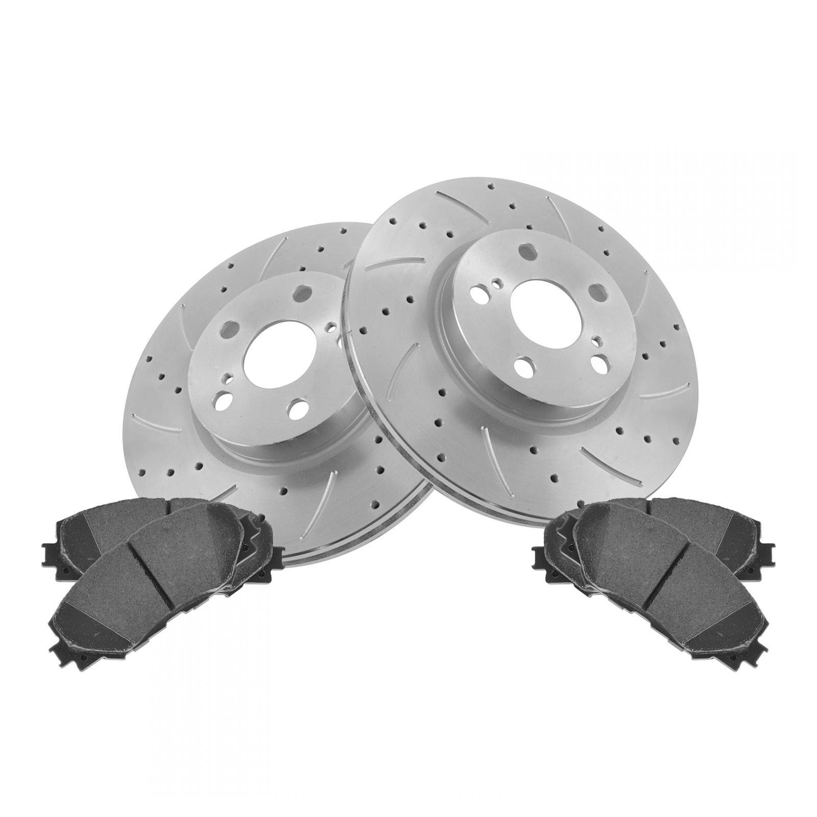 Fits: 2013 13 2014 14 2015 15 Toyota Rav 4 275mm Diameter Front Rotors Premium Cross Drilled Rotors + Metallic Pads TA039821 Max Brakes Front Performance Brake Kit