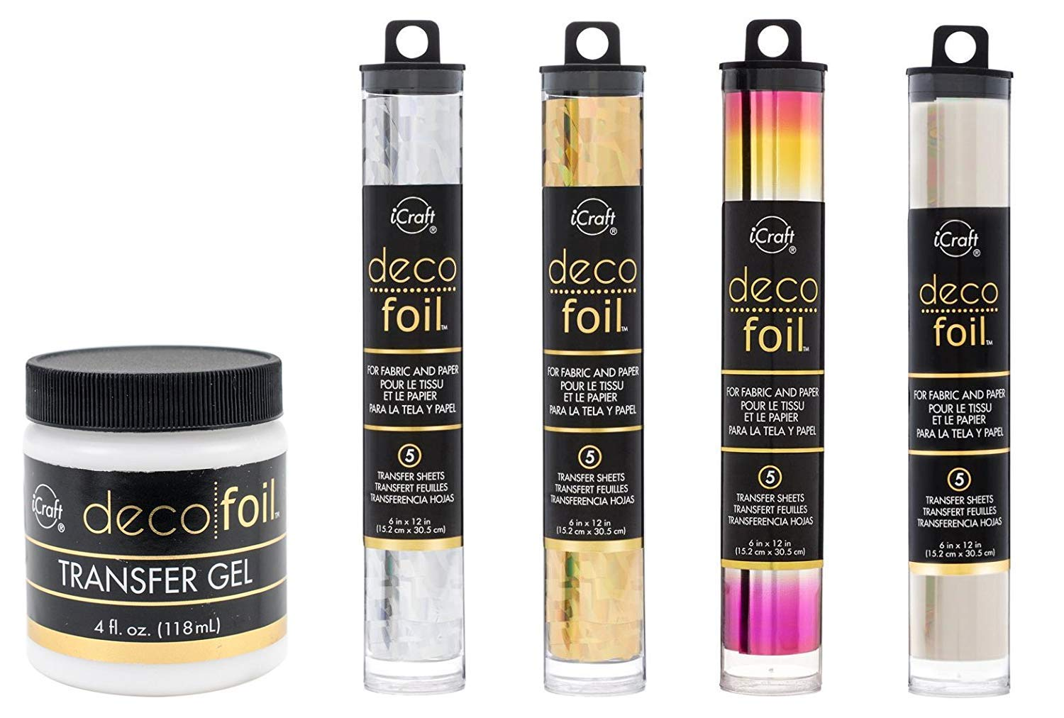 Deco Foil Bundle of 5 Items - Transfer Gel and Specialty Foil Transfer Sheets Set - Shattered Glass Silver, Shattered Glass Gold, Summer Rainbow and Opal by Therm O Web