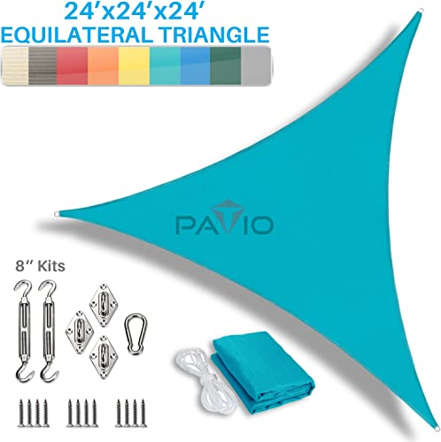 Patio Paradise 24 x 24 x 24 Sun Shade Sail with 8 inch Hardware Kit, Turquoise Green Equilateral Triangle Canopy Durable Shade Fabric Outdoor UV Shelter – 3 Year Warranty – Custom