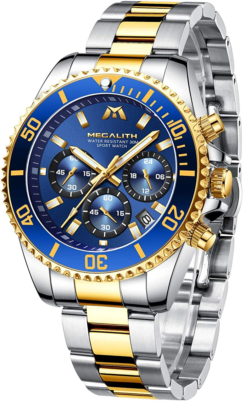 MEGALITH Relojes Hombre Reloj Cronografo Elegante Oro Acero Inoxidable Luminosos Impermeable de Diseño Relojes Grandes de Pulsera Plata Deportivos Analogicos Fecha