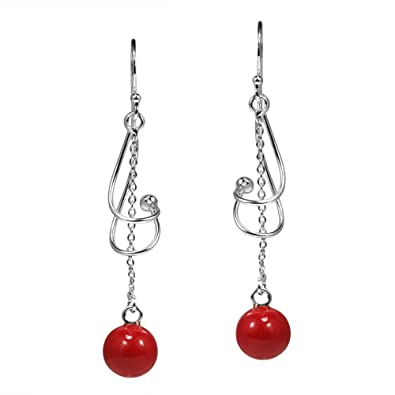 66f55df89 Amazon.com: Twisted Reconstructed Red Coral Pendulum Sterling Silver ...