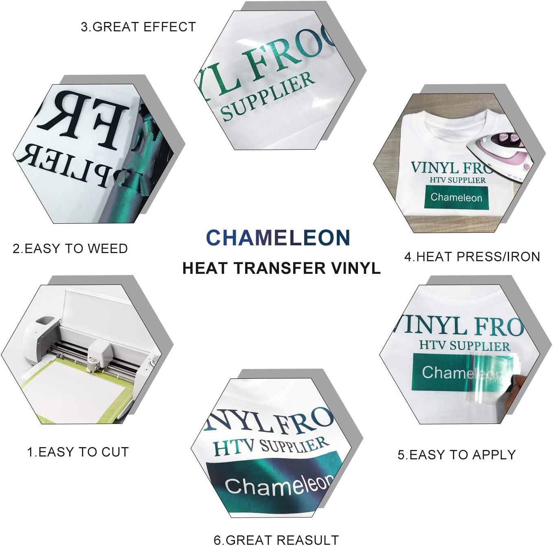 Cricut /& Silhouette Cameo 10 Sheets 12 x10 Assorted Gradient Change Color HTV Iron On Vinyl /& 1 Heat Press Teflon for T-Shirts Hat Pillow Fabric DIY Crafts Jewora Chameleon Heat Transfer Vinyl