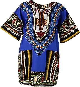 Camisa Africana Estampados Unisex Adulto Colores Brillantes Estampados Bordados Geométricos Florales - Azul Real: Amazon.es: Deportes y aire libre