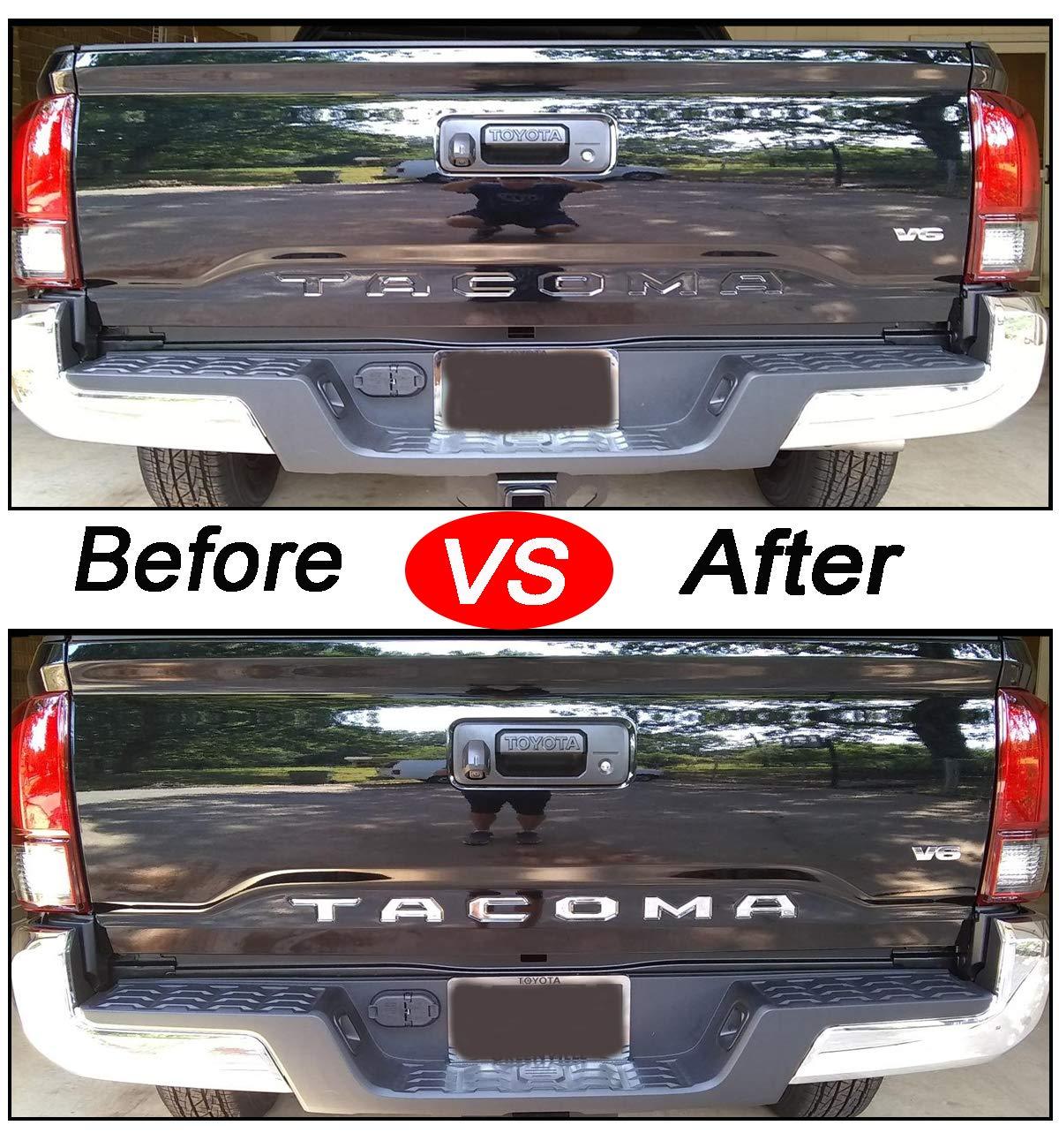 ARITA Tailgate Insert Letters for Toyota Tacoma 2016 2017 2018 2019 2020-3M Adhesive /& 3D Raised Tailgate Letters for Tacoma Chrome Silver