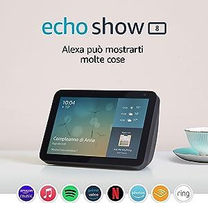 Echo Show 8 (1ª generazione, modello 2019) | Schermo intelligente con Alexa | Resta sempre in contatto con l'aiuto di Alexa | Antracite