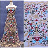 Hot fashion style Mixed colours on beige netting Heavy Embroidered evening dress lace fabric 51'' width 1 yard