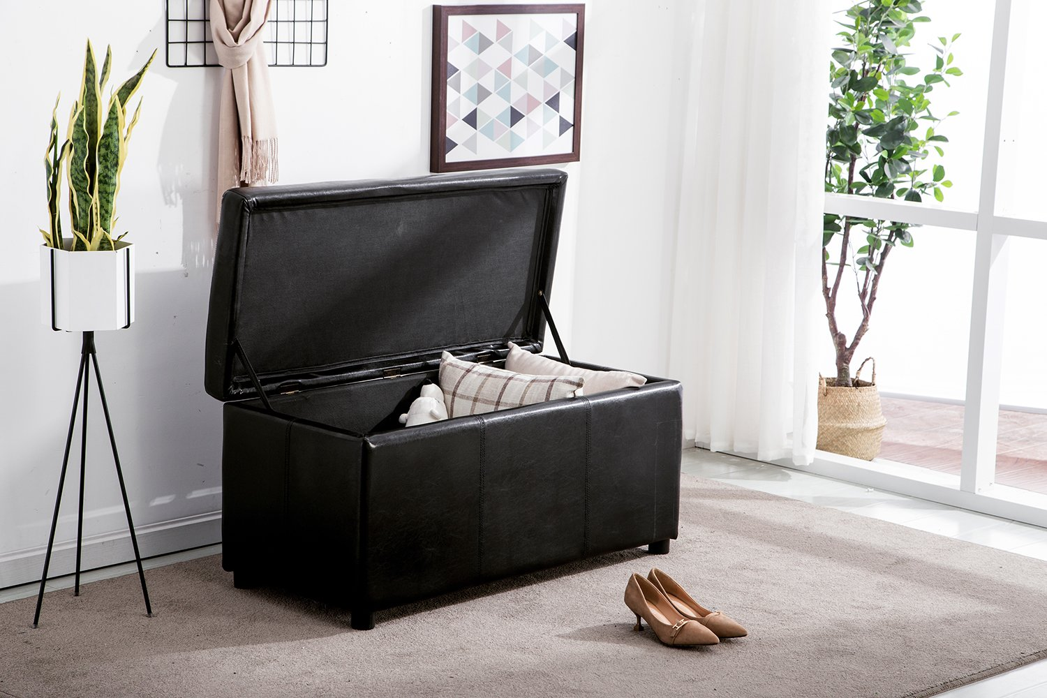 MCombo Storage Ottoman Classical 4pc Folding Faux Leather, Shoe Bench, Bench, Foot Rest Black