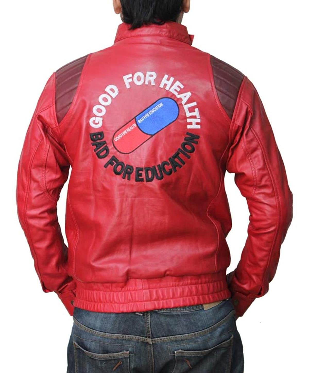 Red Leather Jacket - Mens Anime Motorcycle Good for Health Bad for Education Logo Costume Jacket FJ-RED_AKIRA-PP