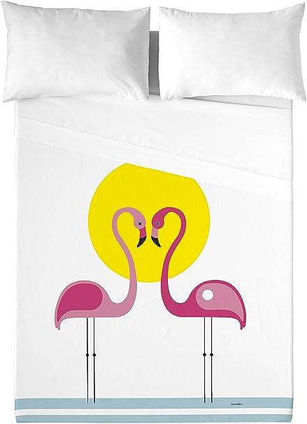 David Delfin Pink Flamingos Juego de sábanas, Algodón, Multicolor, 180 x 200 cm: Amazon.es: Hogar