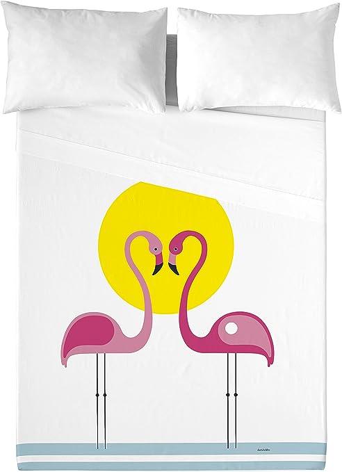 David Delfin Pink Flamingos Juego de sábanas, Algodón, Multicolor ...
